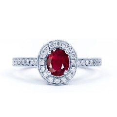 Vintage Ruby Halo Ring in White Gold image 0