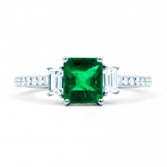 Zambian Emerald Engagement Ring image 1