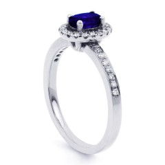 Vintage Blue Sapphire Halo Ring in White Gold image 1