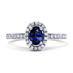 Vintage Blue Sapphire Halo Ring in White Gold image 0