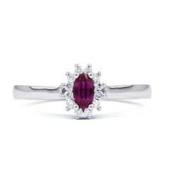 Blossom 9ct White Gold Pink Sapphire Floral Ring image 0