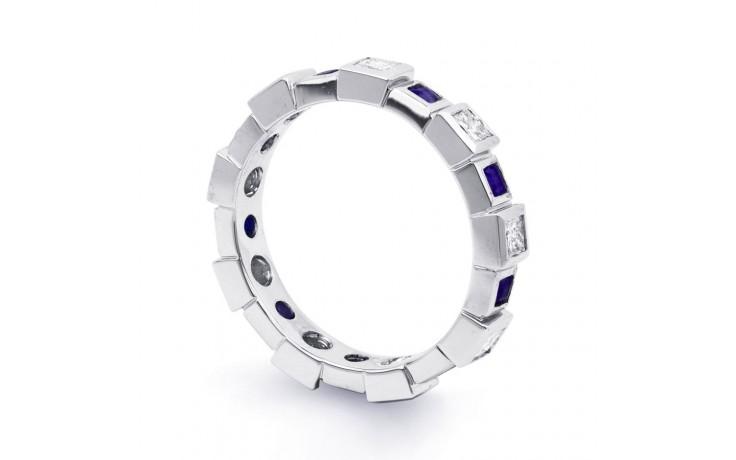 18ct White Gold Blue Sapphire & Diamond Designer Full Eternity Ring 0.75ct 5mm product image 2