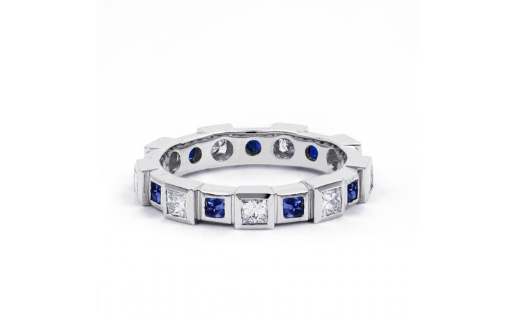 18ct White Gold Blue Sapphire & Diamond Designer Full Eternity Ring 0.75ct 5mm product image 1
