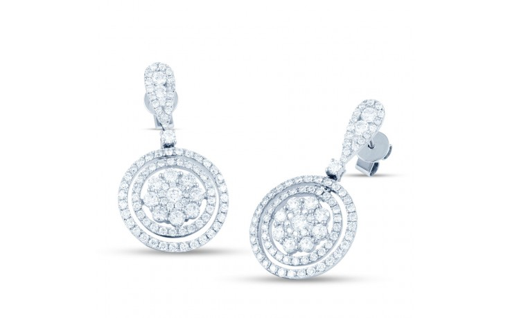 Diamond Double Halo Cluster Drop Earrings product image 2