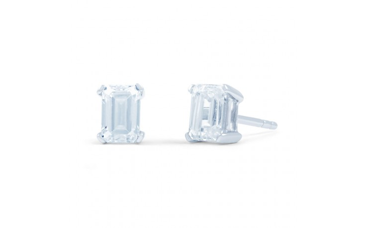 Modern Emerald Diamond Stud Earrings product image 2
