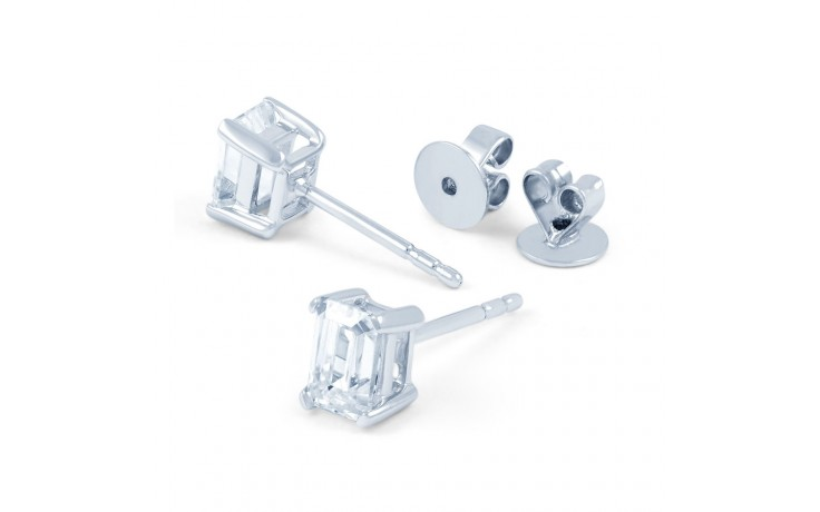 Modern Emerald Diamond Stud Earrings product image 3