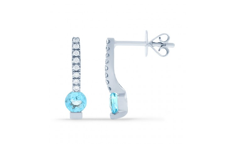 Modern Blue Topaz & Diamond Drop Earrings product image 2