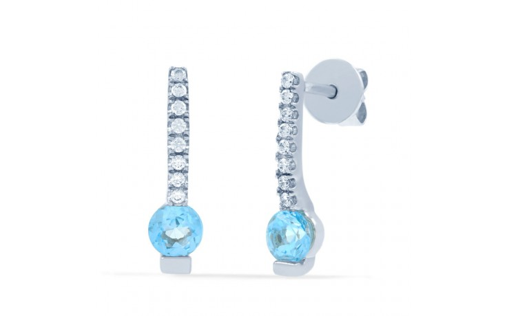 Modern Blue Topaz & Diamond Drop Earrings product image 1
