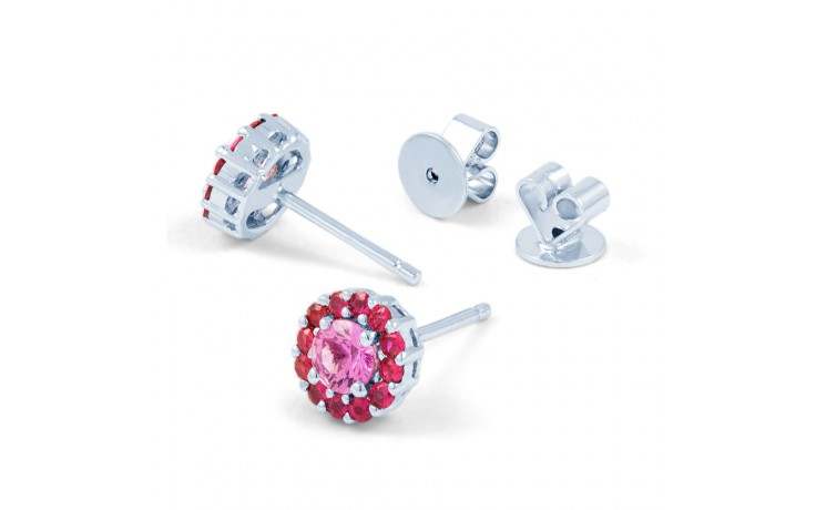 Pink Sapphire and Ruby Halo Earrings product image 2