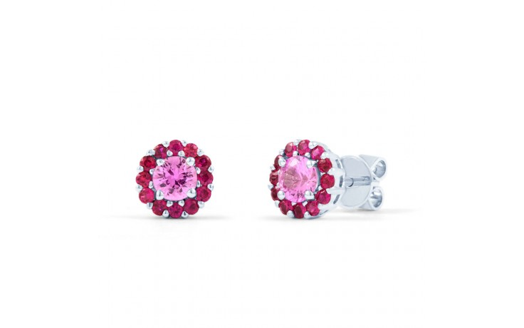 Pink Sapphire and Ruby Halo Earrings product image 1