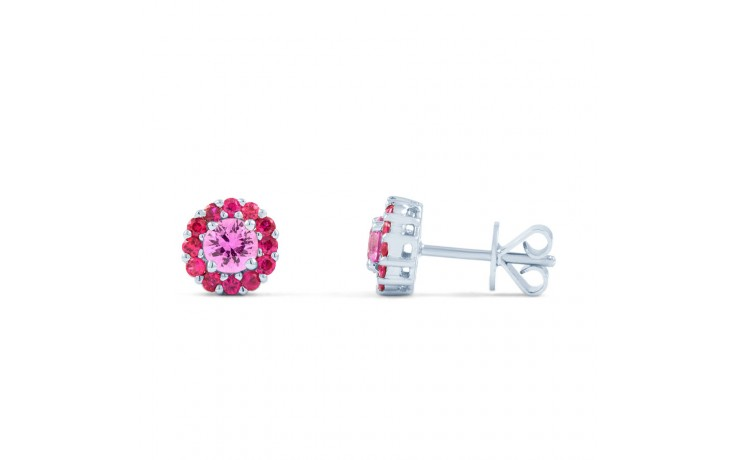 Pink Sapphire and Ruby Halo Earrings product image 3
