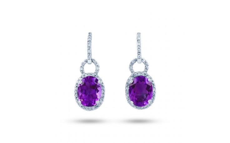 Modern Amethyst & Diamond Drop Earrings product image 1