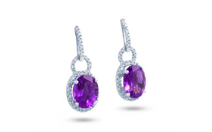 Modern Amethyst & Diamond Drop Earrings product image 2