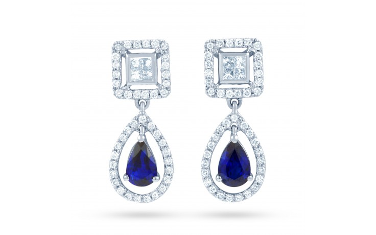 Modern Blue Sapphire and Diamond Drop Earrings product image 1