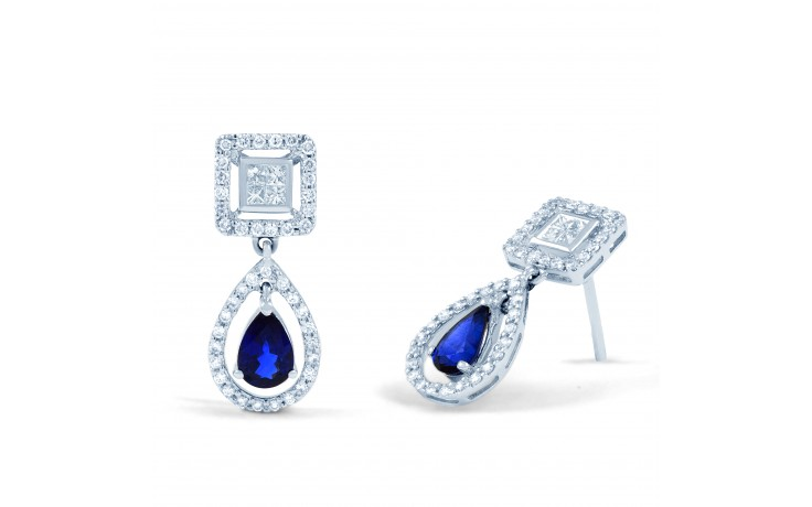 Modern Blue Sapphire and Diamond Drop Earrings product image 2
