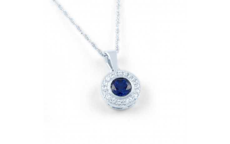 Round Blue Sapphire Pendant product image 1