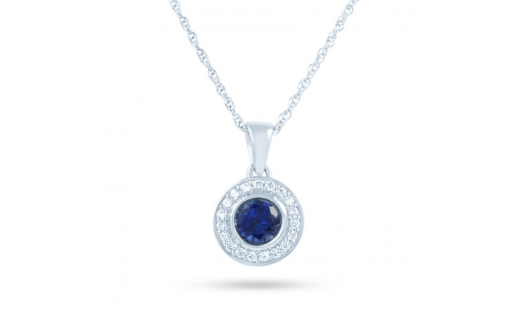 Round Blue Sapphire Pendant product image 2