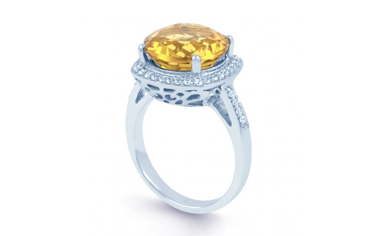 Citrine & Diamond Ring In White Gold product image 2