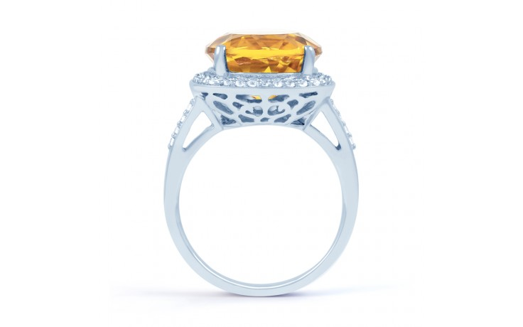 Citrine & Diamond Ring In White Gold product image 3