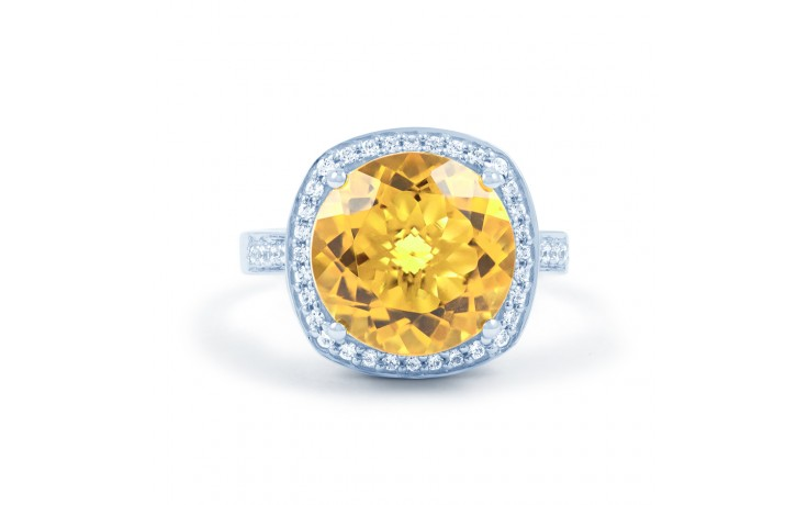 Citrine & Diamond Ring In White Gold product image 1