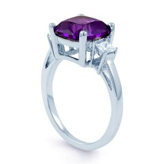 Cushion Amethyst Ring with Princess Diamonds image 1