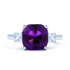 Cushion Amethyst Ring with Princess Diamonds image 0
