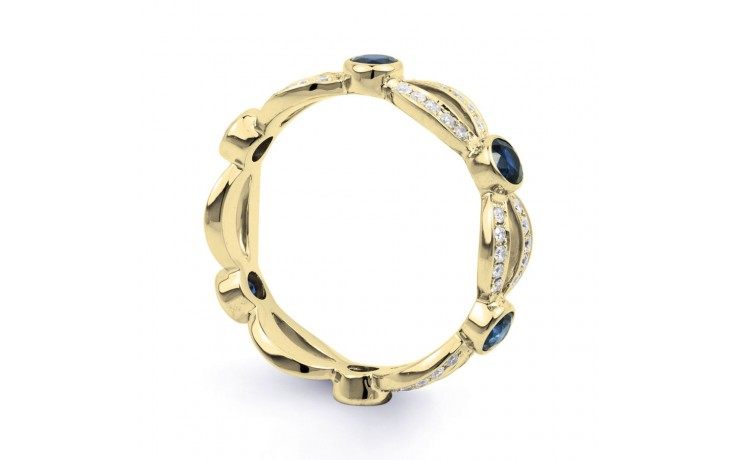 Yellow Gold Blue Sapphire & Diamond Designer Full Eternity Ring product image 2