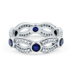 18ct White Gold Blue Sapphire & Diamond Designer Full Eternity Ring 0.3ct 6mm image 0