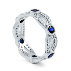 18ct White Gold Blue Sapphire & Diamond Designer Full Eternity Ring 0.3ct 6mm image 1