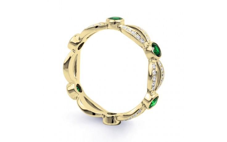 18ct Yellow Gold Emerald & Diamond Designer Full Eternity Band 0.3ct 6mm product image 2