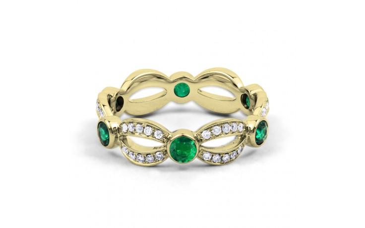 18ct Yellow Gold Emerald & Diamond Designer Full Eternity Band 0.3ct 6mm product image 1