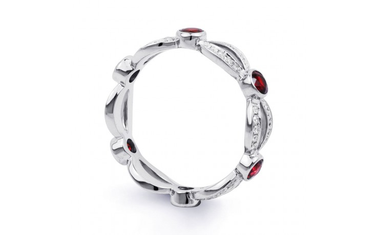 18ct White Gold Ruby & Diamond Designer Full Eternity Ring Band 0.3ct 6mm product image 2