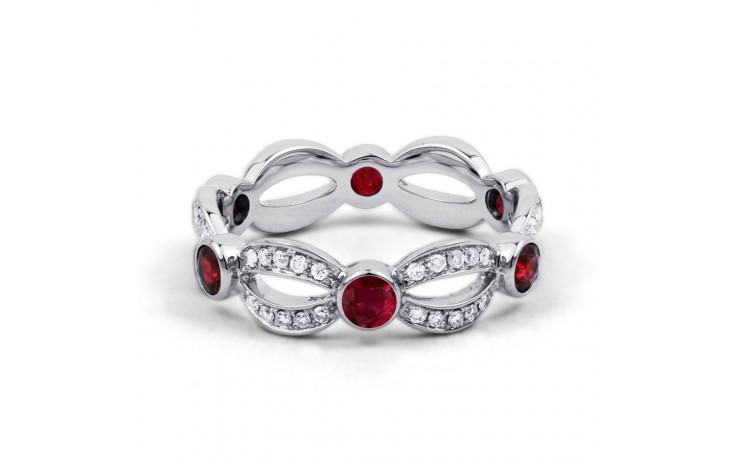 18ct White Gold Ruby & Diamond Designer Full Eternity Ring Band 0.3ct 6mm product image 1