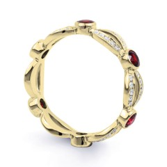 18ct Yellow Gold Ruby & Diamond Designer Full Eternity Ring Band 0.3ct 6mm image 1