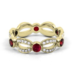 18ct Yellow Gold Ruby & Diamond Designer Full Eternity Ring Band 0.3ct 6mm image 0