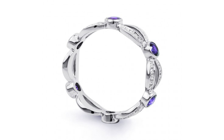 18ct White Gold Tanzanite & Diamond Designer Eternity Ring 0.3ct 6mm product image 2
