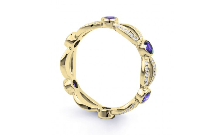 18ct Yellow Gold Tanzanite & Diamond Designer Eternity Ring 0.3ct 6mm product image 2