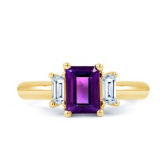 18ct Yellow Gold Amethyst & Diamond Engagement Ring 0.22ct 2.5mm image 0