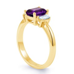 18ct Yellow Gold Amethyst & Diamond Engagement Ring 0.22ct 2.5mm image 1