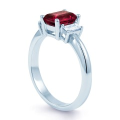 18ct White Gold Ruby & Diamond Engagement Ring Emerald 0.22ct 2.5mm image 1