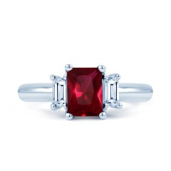 18ct White Gold Ruby & Diamond Engagement Ring Emerald 0.22ct 2.5mm image 0