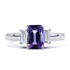 18ct White Gold Tanzanite & Diamond Engagement Ring Emerald 0.22ct 2.5mm image 0
