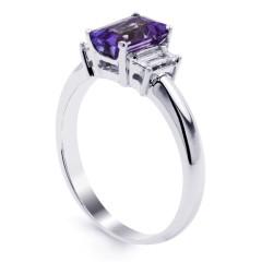 18ct White Gold Tanzanite & Diamond Engagement Ring Emerald 0.22ct 2.5mm image 1