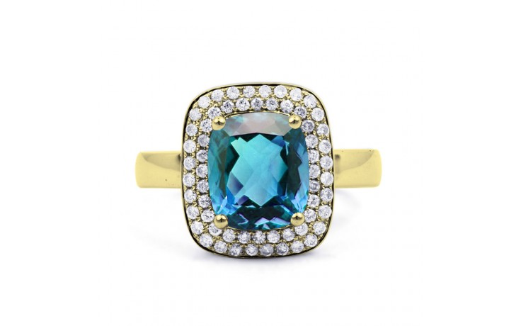 Blue Topaz Cushion Gold Ring product image 1