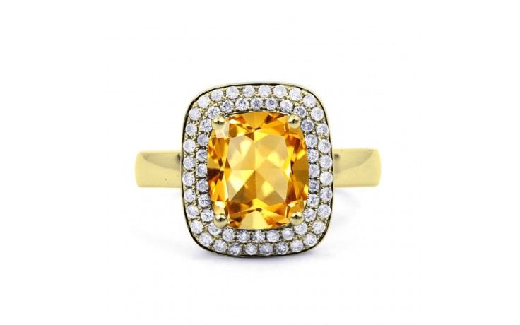 Citrine Cushion Yellow Gold Ring product image 1