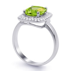 18ct White Gold Peridot & Diamond Cushion Engagement Ring 0.3ct 3mm image 1