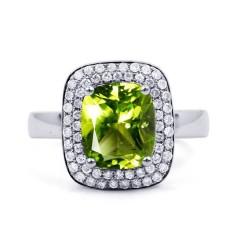 18ct White Gold Peridot & Diamond Cushion Engagement Ring 0.3ct 3mm image 0