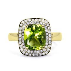 18ct Yellow Gold Peridot & Diamond Cushion Engagement Ring 0.3ct 3mm image 0