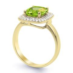 18ct Yellow Gold Peridot & Diamond Cushion Engagement Ring 0.3ct 3mm image 1