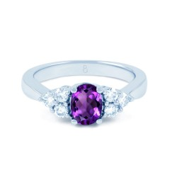 18ct White Gold Amethyst & Diamond Vintage Engagement Ring 0.3ct 2.5mm image 0